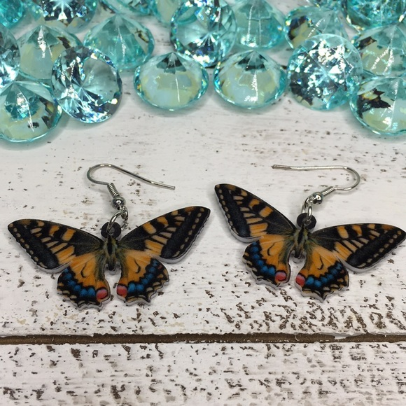 ddfc7b6c60581 Tiger Swallowtail Acrylic Butterfly Earrings Boutique